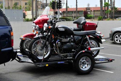 Camper Wheel Chocks >> DUAL Kendon Stand Up Folding Trailer. Fits 2 Harleys. Ramp