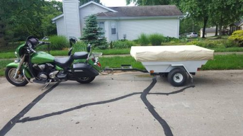 Motorcycle camper Trailer Pull behind your bike Pop up tent - $1850