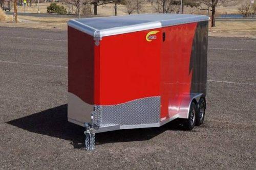 All Aluminum Frame 7x14 V-Nose Enclosed Cargo Motorcycle UTV Trailer ...